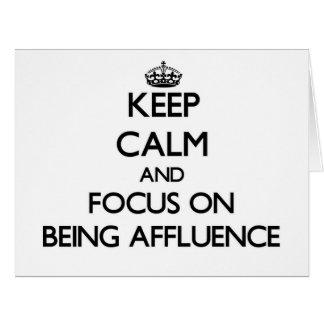 Guarde la calma y el foco en ser riqueza felicitaciones