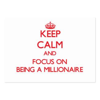 Guarde la calma y el foco en ser un millonario tarjetas de visita grandes