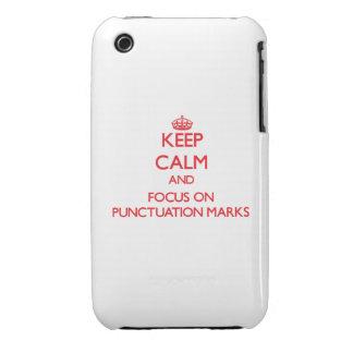 Guarde la calma y el foco en signos de puntuación iPhone 3 Case-Mate cárcasa