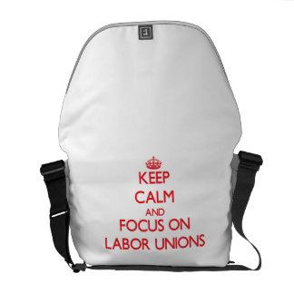 Guarde la calma y el foco en sindicatos bolsa de mensajería