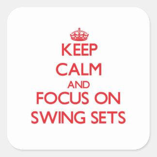 Guarde la calma y el foco en sistemas del pegatina cuadrada