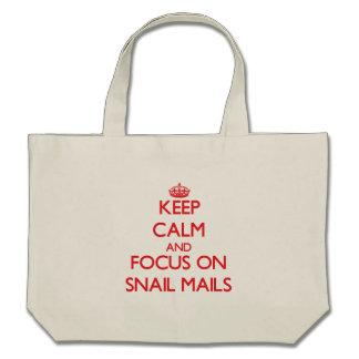 Guarde la calma y el foco en snail mail bolsa lienzo