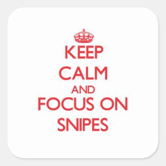 Guarde la calma y el foco en Snipes Calcomanías Cuadradases