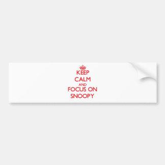 Guarde la calma y el foco en Snoopy Pegatina Para Auto