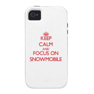 Guarde la calma y el foco en Snowmobile iPhone 4 Funda