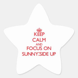 Guarde la calma y el foco en Soleado-Side para Calcomanía Forma De Estrellae