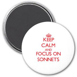 Guarde la calma y el foco en sonetos iman de frigorífico