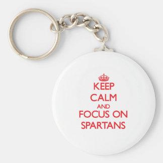 Guarde la calma y el foco en Spartans Llavero