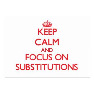 Guarde la calma y el foco en substituciones tarjetas de visita grandes