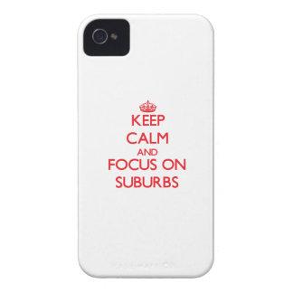Guarde la calma y el foco en suburbios iPhone 4 Case-Mate cárcasa