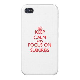 Guarde la calma y el foco en suburbios iPhone 4 protector