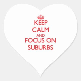 Guarde la calma y el foco en suburbios calcomanía de corazón personalizadas