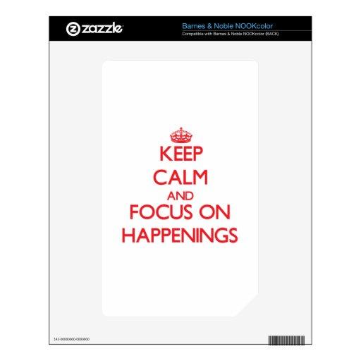 Guarde la calma y el foco en sucesos calcomanías para el NOOK color