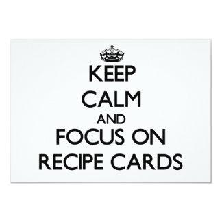 """Guarde la calma y el foco en tarjetas de la receta invitación 5"""" x 7"""""""