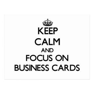 Guarde la calma y el foco en tarjetas de visita tarjeta postal