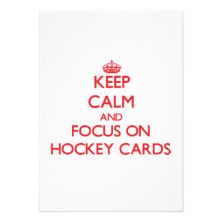 Guarde la calma y el foco en tarjetas del hockey anuncio