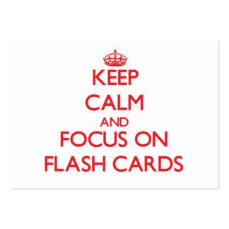 Guarde la calma y el foco en tarjetas flash plantillas de tarjetas de visita