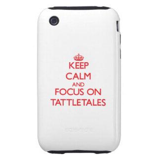 Guarde la calma y el foco en Tattletales Tough iPhone 3 Funda