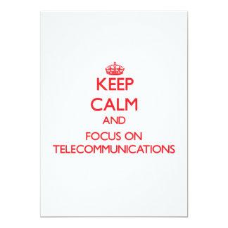 Guarde la calma y el foco en telecomunicaciones invitacion personalizada