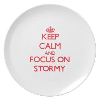 Guarde la calma y el foco en tempestuoso plato para fiesta