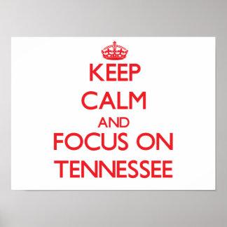 Guarde la calma y el foco en Tennessee Poster