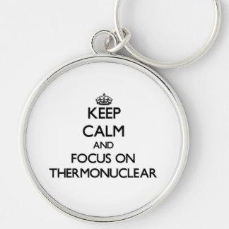 Guarde la calma y el foco en termonuclear llaveros personalizados