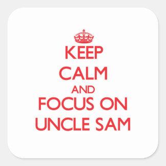 Guarde la calma y el foco en tío Sam Pegatinas Cuadradases Personalizadas