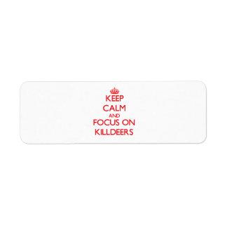 Guarde la calma y el foco en tipos de tero norteam etiqueta de remite