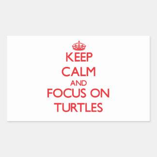 Guarde la calma y el foco en tortugas rectangular pegatina