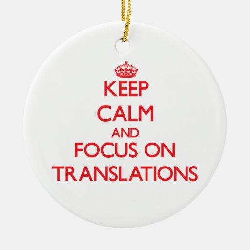 Guarde la calma y el foco en traducciones ornamentos de reyes
