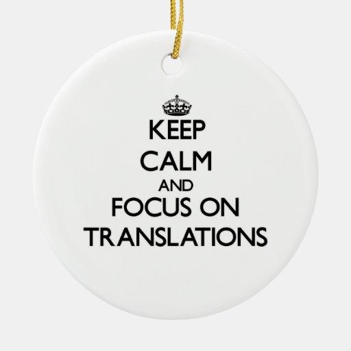 Guarde la calma y el foco en traducciones adorno de reyes