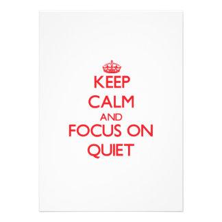 Guarde la calma y el foco en tranquilidad comunicados personalizados