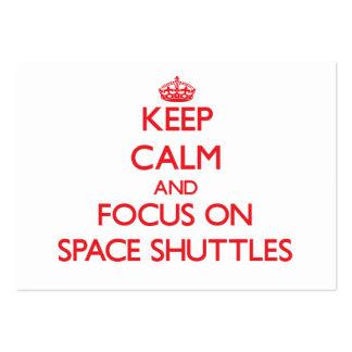 Guarde la calma y el foco en transbordadores espac tarjetas de visita