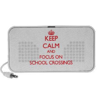 Guarde la calma y el foco en travesías de escuela mp3 altavoces