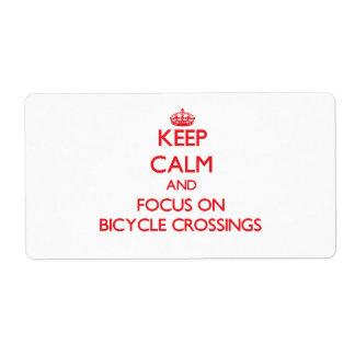 Guarde la calma y el foco en travesías de la bicic etiquetas de envío