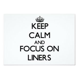 Guarde la calma y el foco en trazadores de líneas invitación 12,7 x 17,8 cm