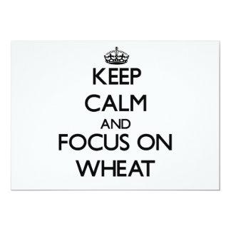 """Guarde la calma y el foco en trigo invitación 5"""" x 7"""""""