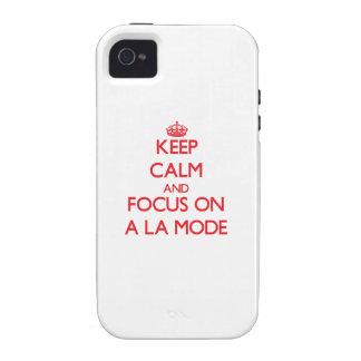 Guarde la calma y el foco en UN MODO del LA Case-Mate iPhone 4 Carcasas