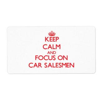Guarde la calma y el foco en vendedores de coches etiquetas de envío