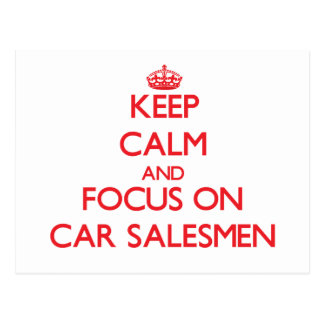 Guarde la calma y el foco en vendedores de coches postal