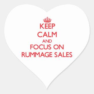 Guarde la calma y el foco en ventas de búsqueda pegatina en forma de corazón