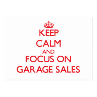 Guarde la calma y el foco en ventas de garaje tarjetas de visita