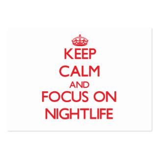 Guarde la calma y el foco en vida nocturna tarjeta de visita