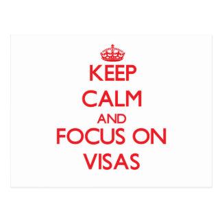 Guarde la calma y el foco en visas tarjeta postal