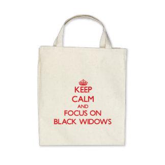Guarde la calma y el foco en viudas negras bolsa de mano