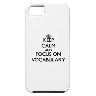 Guarde la calma y el foco en vocabulario iPhone 5 funda