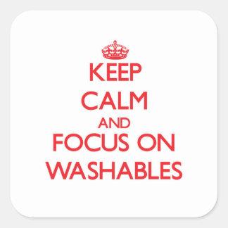 Guarde la calma y el foco en Washables Pegatina Cuadrada