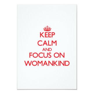 Guarde la calma y el foco en Womankind Invitación Personalizada