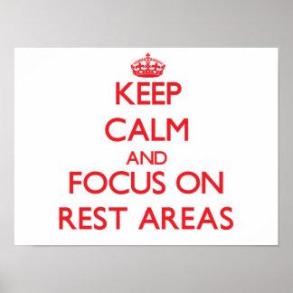 Guarde la calma y el foco en zonas de descanso posters