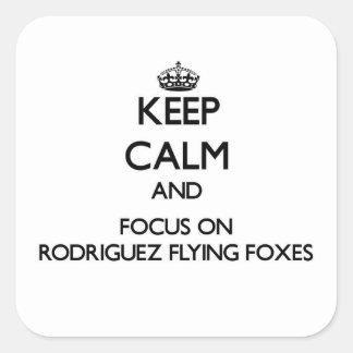 Guarde la calma y el foco en zorros de vuelo de pegatina cuadrada